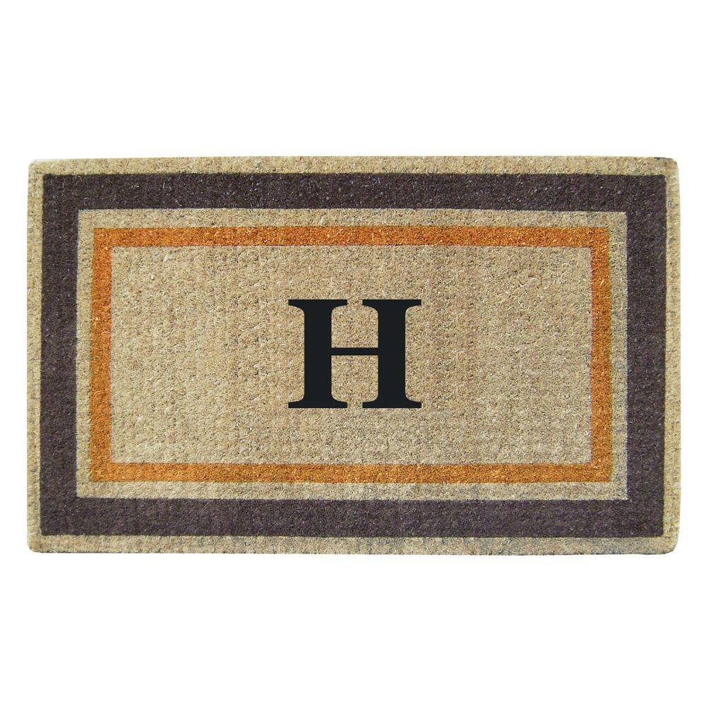 Creative Accents Double Picture Frame Orange Brown 22 in. x 36 in. HeavyDuty Coir Monogrammed H Door Mat