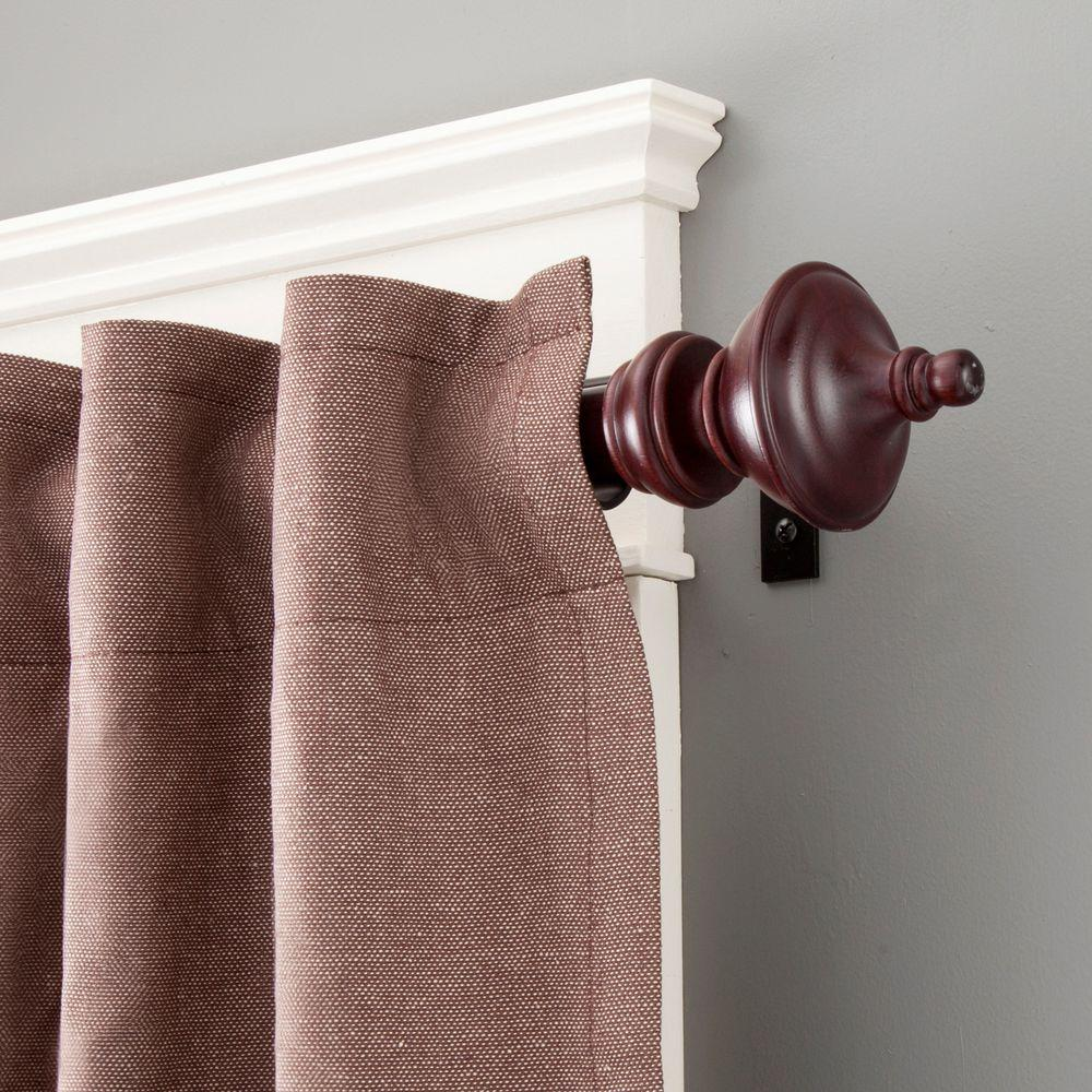 Kenney Rutherford 90 130 In Adjule 1 Premium Decorative Window Curtain Rod Mahogany 97017rem The Home Depot