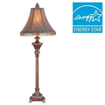 31 in. Ruby and Bronze Resemble Wood Buffet Lamp