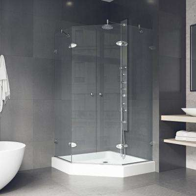 Gemini 42.125 in. x 78.75 in. Frameless Neo-Angle Shower Enclosure in Chrome with Clear Glass with Base in White