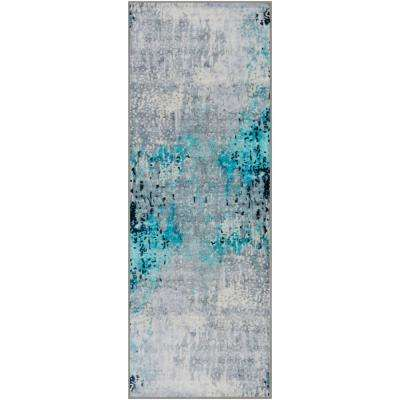 Kasimir Bright Blue 2 ft. 7 in. x 7 ft. 3 in. Abstract Runner Rug