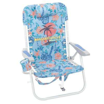 Lace-Up Blue Palm Tree Aluminum Adjustable Backpack Beach Chair