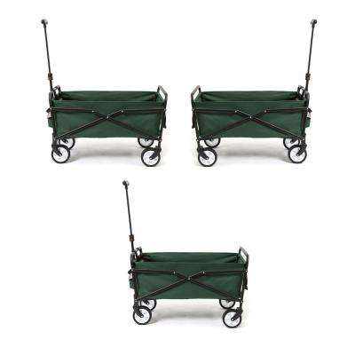 150 lbs. Capacity Heavy-Duty Compact Outdoor Utility Cart in Green (3-Pack)