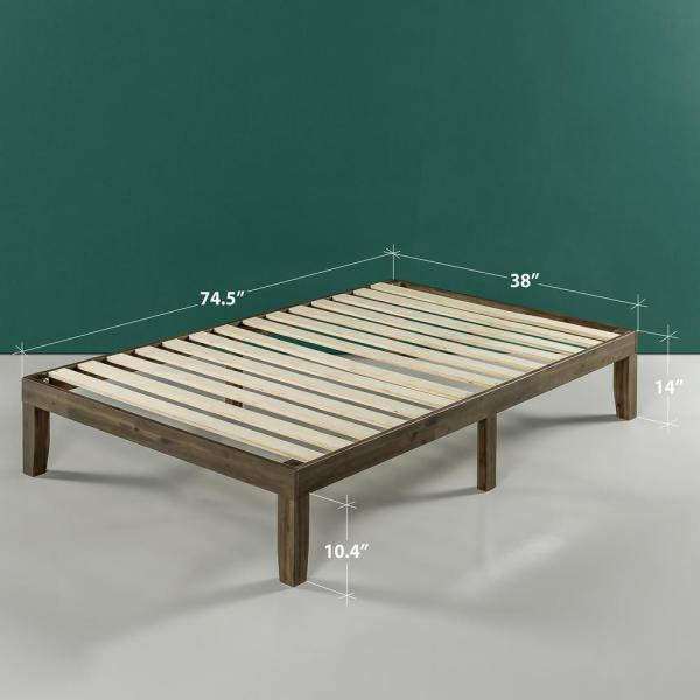 Zinus Moiz Walnut 14 In Full Platform Bed With Wood Hd