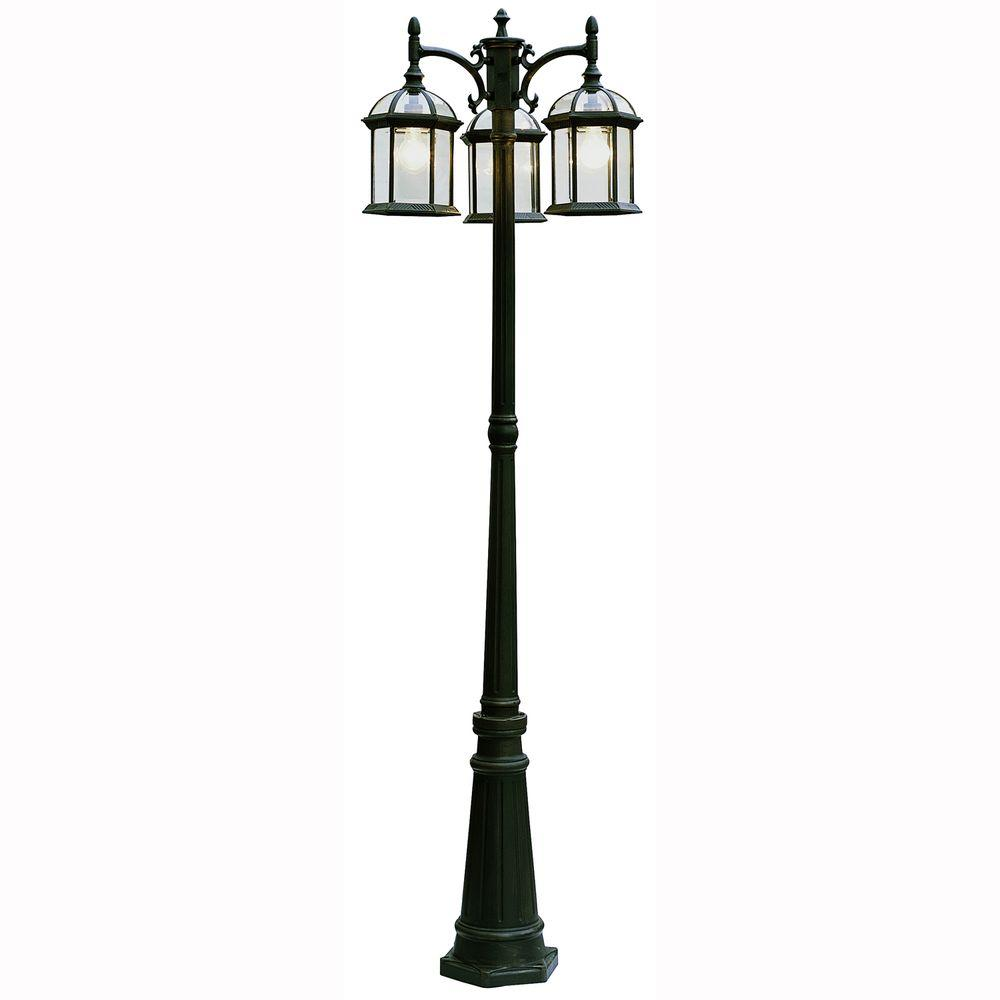 Atrium 3-Light Outdoor Black Lamp Post Lantern with Clear Glass