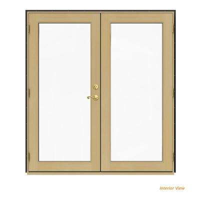 72 in. x 80 in. W-2500 Bronze Clad Wood Right-Hand Full Lite French Patio Door w/Unfinished Interior