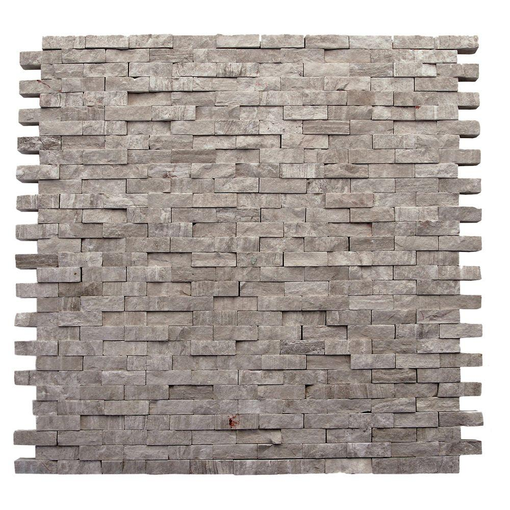 Haisa Marble Dark Split Face 12 in. x 12 in. x