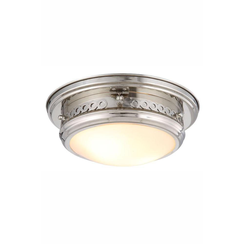 Elegant Lighting Mallory 2-Light Polished Nickel Flush Mount