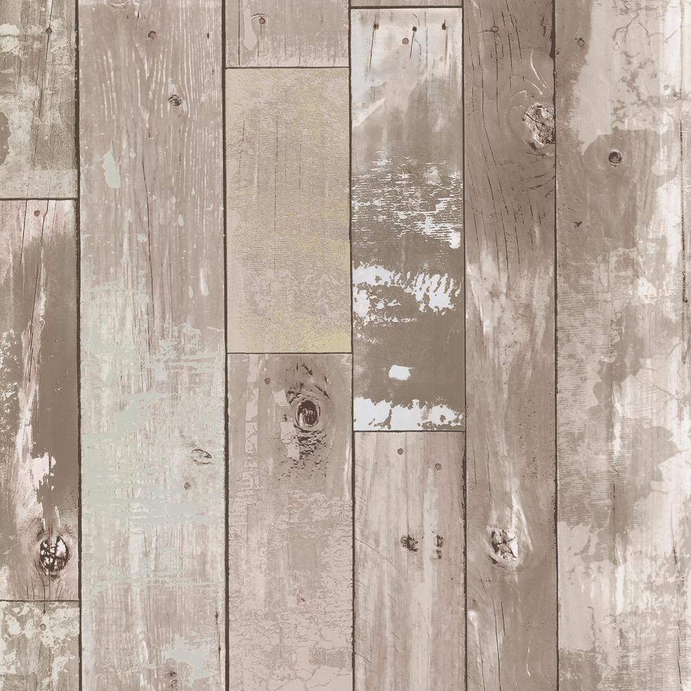 Brewster Heim Taupe (Brown) Distressed Wood Panel Wallpaper