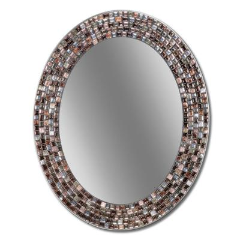 Frameless Mosaic 23 in. x 29 in. Copper Oval Wall Mirror