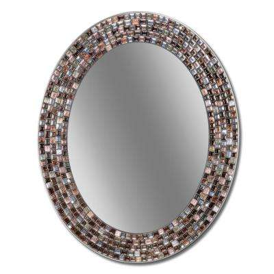 Frameless Mosaic 23 in. x 29 in. Copper Oval Wall Mirror