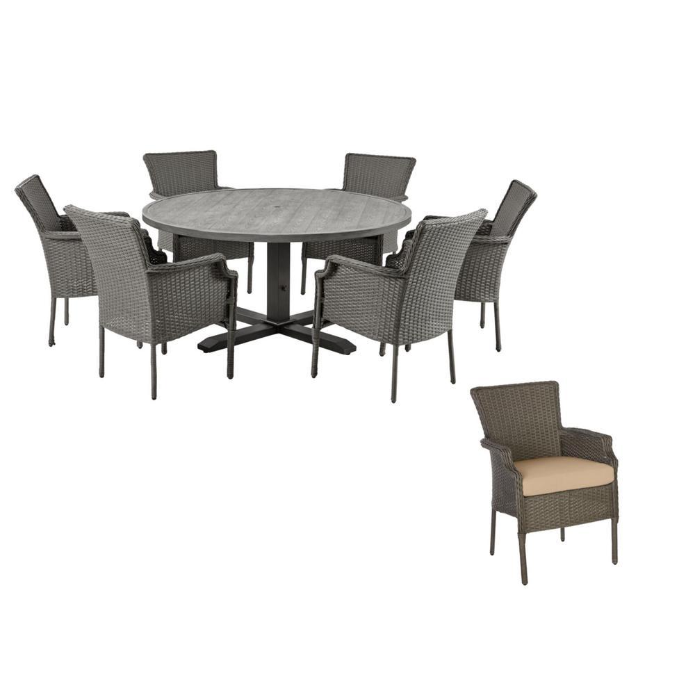 Grayson 7-Piece Ash Gray Wicker Outdoor Patio Dining Set with Sunbrella Beige Tan Cushions