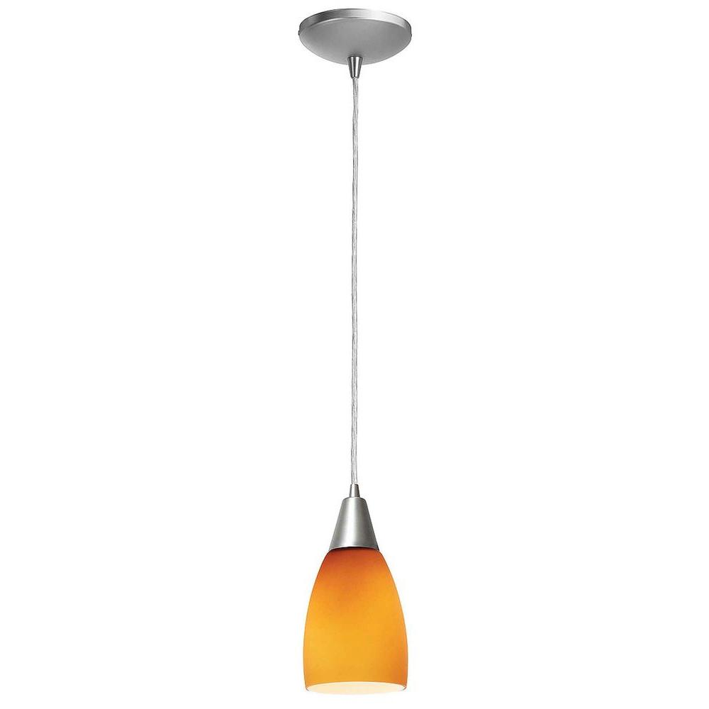 Access Lighting 1-Light Pendant Oil Rubbed Bronze Finish Amber Glass-DISCONTINUED