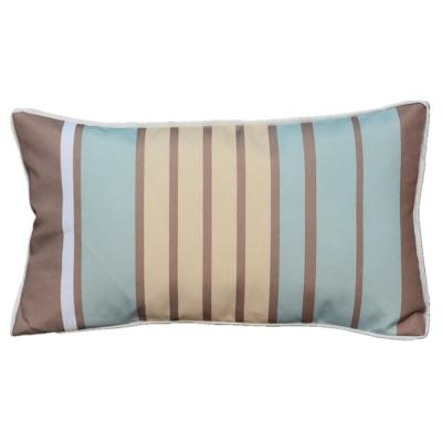 Luxury Canvas Blue Yellow Striped Rectangular Outdoor Throw Pillow