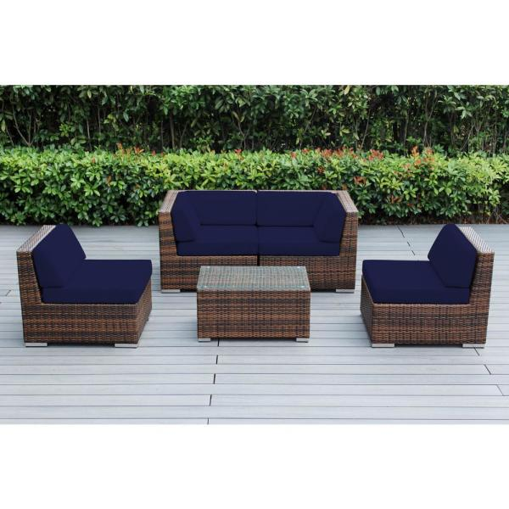 Ohana Mixed Brown 5-Piece Wicker Patio Seating Set with Sunbrella Navy Cushions