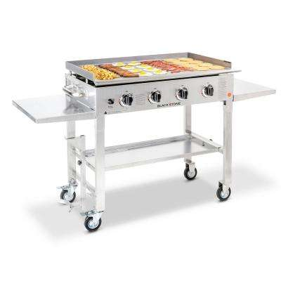 36 in. 4-Burner Propane Gas Grill in Stainless Steel with Griddle Top