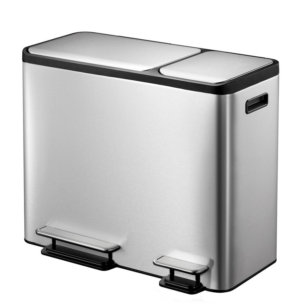 EcoCasa Stainless Steel Recycle 30 Liter+15 Liter (7.9 Gallon+3.9 Gallon) Dual