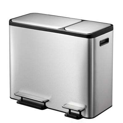 EcoCasa Stainless Steel Recycle 30 Liter+15 Liter (7.9 Gallon+3.9 Gallon) Dual Compartment Step Trash Can