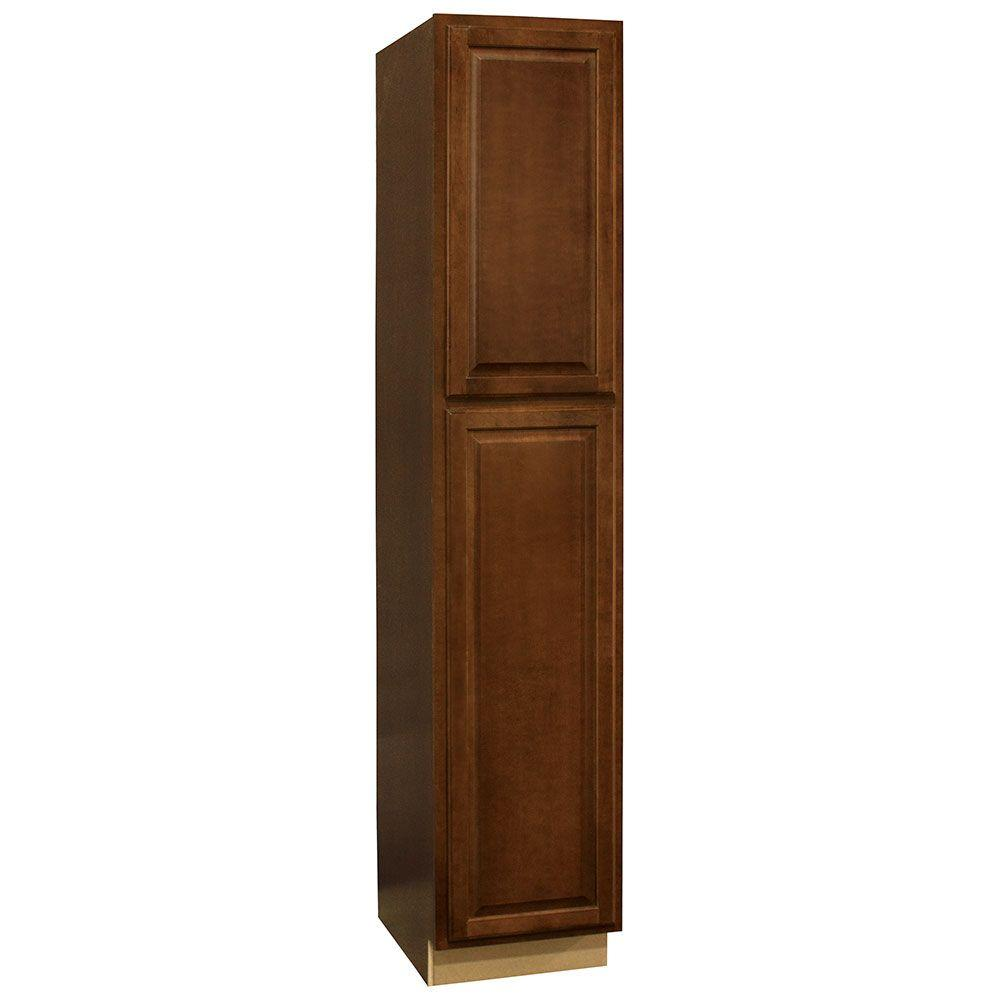 Hampton Bay Hampton Assembled 18 X 90 X 24 In Pantry Utility Kitchen Cabinet In Cognac Kp1890
