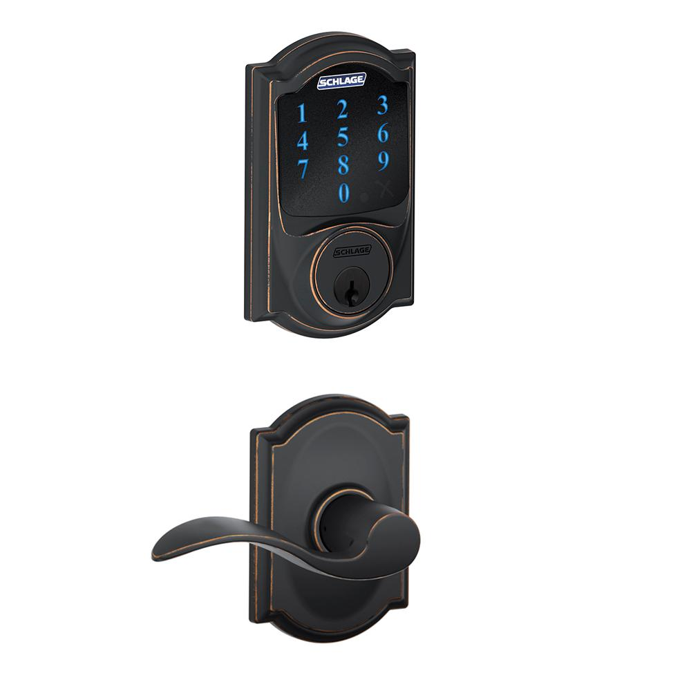 Camelot Aged Bronze Connect Smart Lock with Alarm and Accent Lever