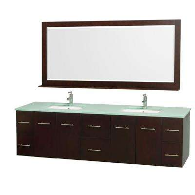 Centra 80 in. Double Vanity in Espresso with Glass Vanity Top in Aqua and Square Porcelain Under-Mounted Sinks