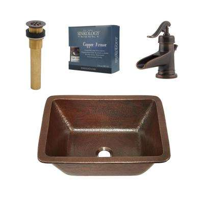 Pfister All-In-One Hawking 17 Bathroom Sink Design Kit in Aged Copper with Centerset Rustic Bronze Faucet