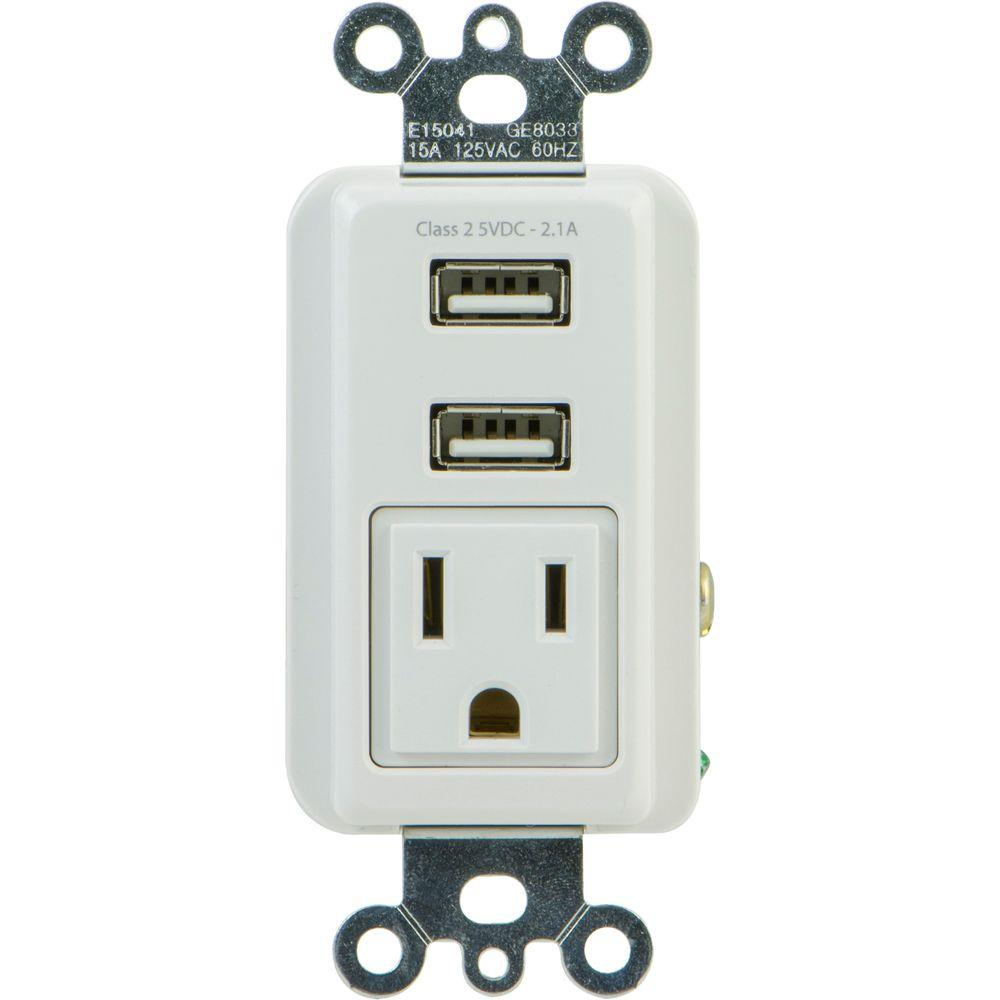GE 2.1 Amp 1-Outlet and 2-USB Port In-Wall Receptacle