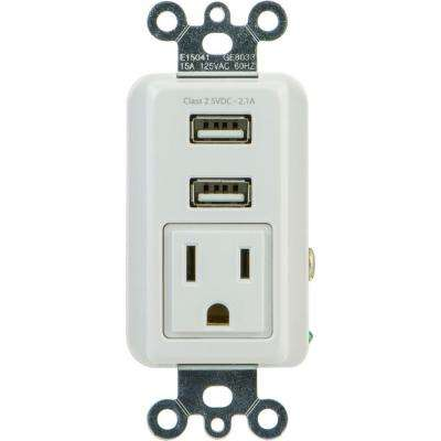 2.1 Amp 1-Outlet and 2-USB Port In-Wall Receptacle