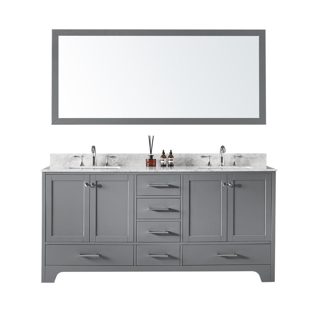72 in. Double Sink Bathroom Vanity in Taupe Grey with Carrara