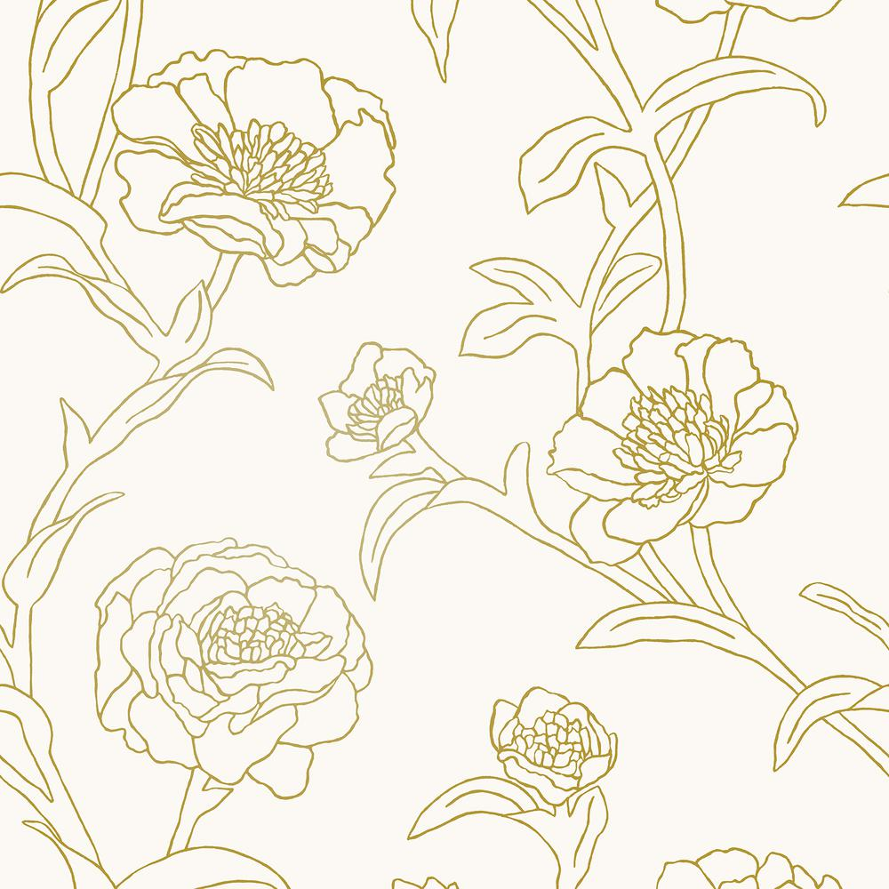 Tempaper Peonies Gold Leaf Self Adhesive Removable Wallpaper