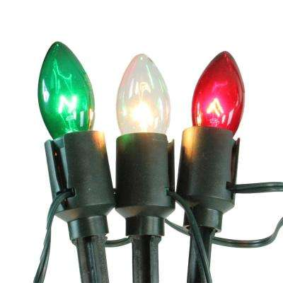 5 in. Christmas Pathway Marker Decorations Lighted Red Clear and Green C9 (15-Pack)