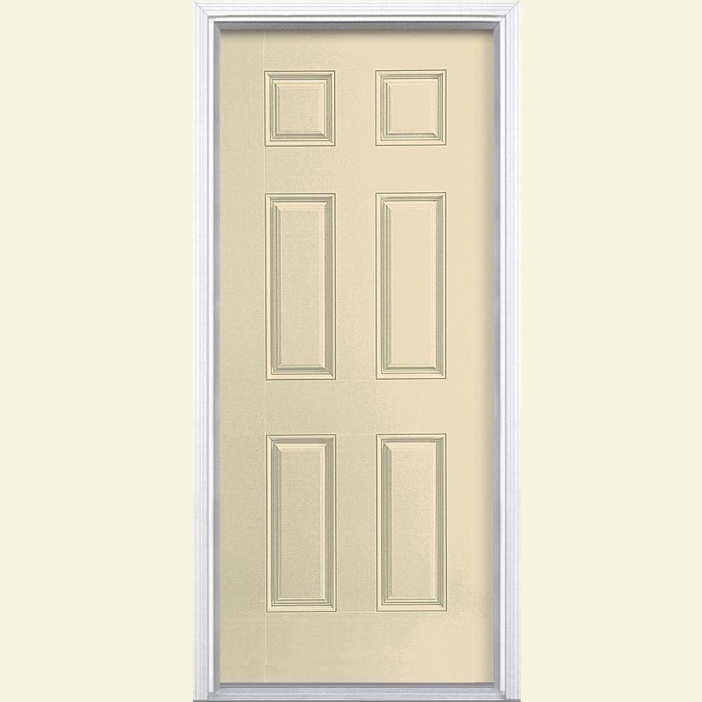 Masonite 36 in. x 80 in. 6-Panel Right-Hand Inswing Painted Smooth Fiberglass Prehung Front Door with Brickmold, Golden Haystack