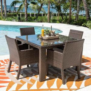 Fiji Brown 5-Piece Wicker Outdoor Dining Set with Off-White Cushions