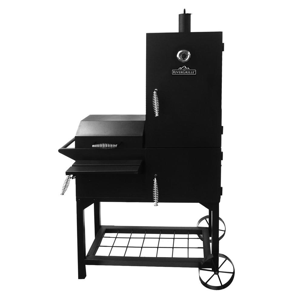 rivergrille rustler 40 in vertical smoker and grill sc2185601 rg the home depot. Black Bedroom Furniture Sets. Home Design Ideas