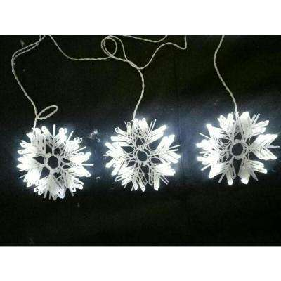 6.5 ft. 120-Light LED Cool White Twinkle Snowflake Light String