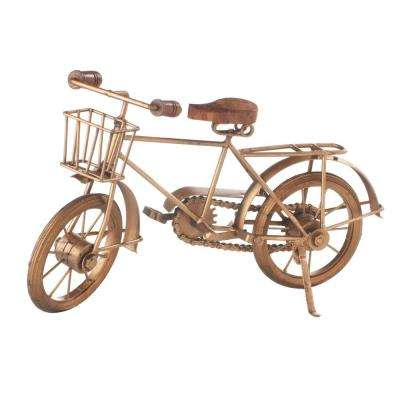 8 in. H Spokes Replica Bicycle Sculpture in Antique Gold and Black