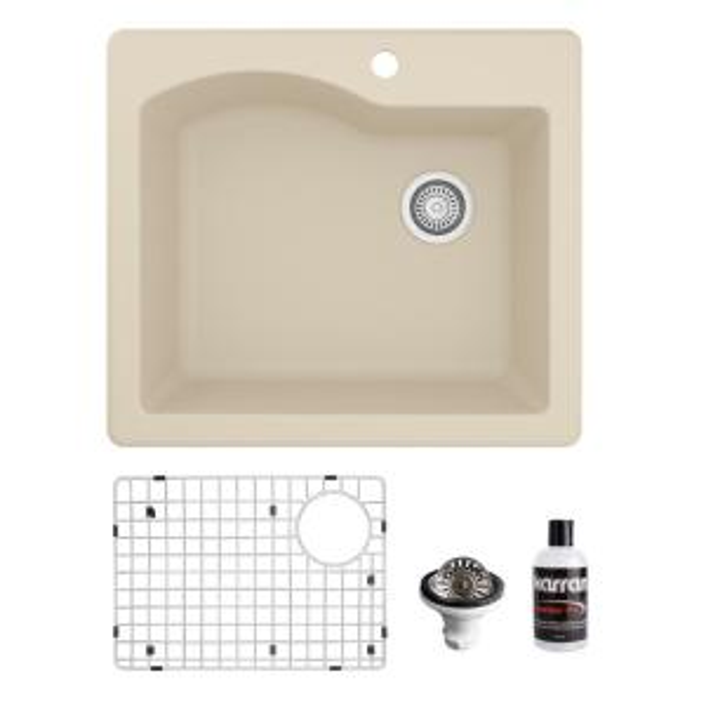 QT-671 Top Mount Quartz/Granite Composite 25 in. Single Bowl Drop-In Kitchen Sink with Grid & Basket Strainer in Bisque