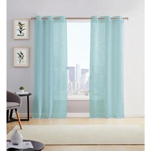 Hannah 38 in. W x 84 in. L Semi Sheer Grommet Window Panel Pair in Aqua (2-Pack)