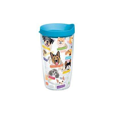 Flat Art Dog Breed 16 oz. Double Walled Insulated Tumbler with Travel Lid