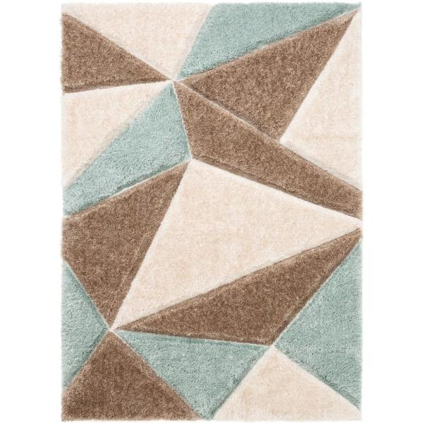 San Francisco Venice Ivory Modern Geometric Abstract 3 ft. 11 in. x 5 ft. 3 in. 3D Carved Shag Area Rug