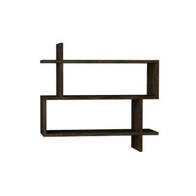 Westcott Dark Brown Mid-Century Modern Wall Shelf