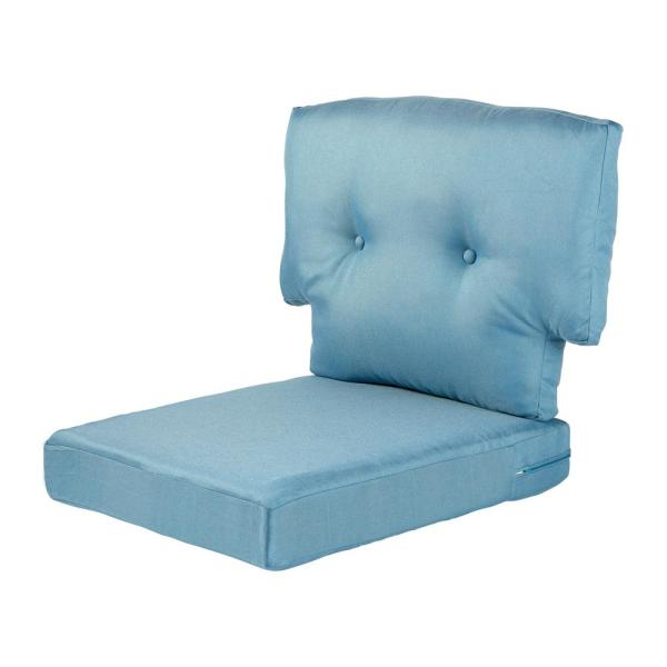 Hampton Bay Washed Blue Replacement Cushion For The Martha Stewart Living Charlottetown Outdoor Chair 89 65601 The Home Depot