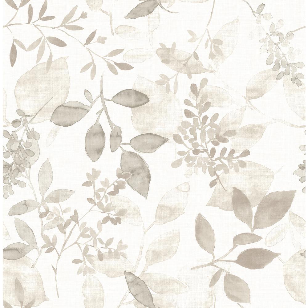 Gossamer Taupe Botanical Wallpaper Sample