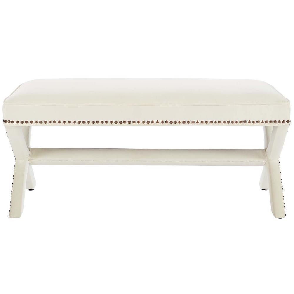 Rivet Ivory Upholstered Velvet Bench