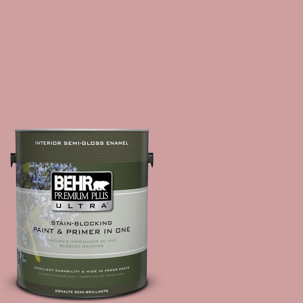 BEHR Premium Plus Ultra 1-gal. #150E-3 Calico Rose Semi-Gloss Enamel Interior Paint