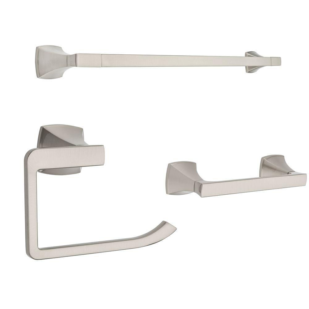 Bathroom Towel Rack Kit: Pfister Venturi 24 In. Towel Bar, Double Post Toilet Paper