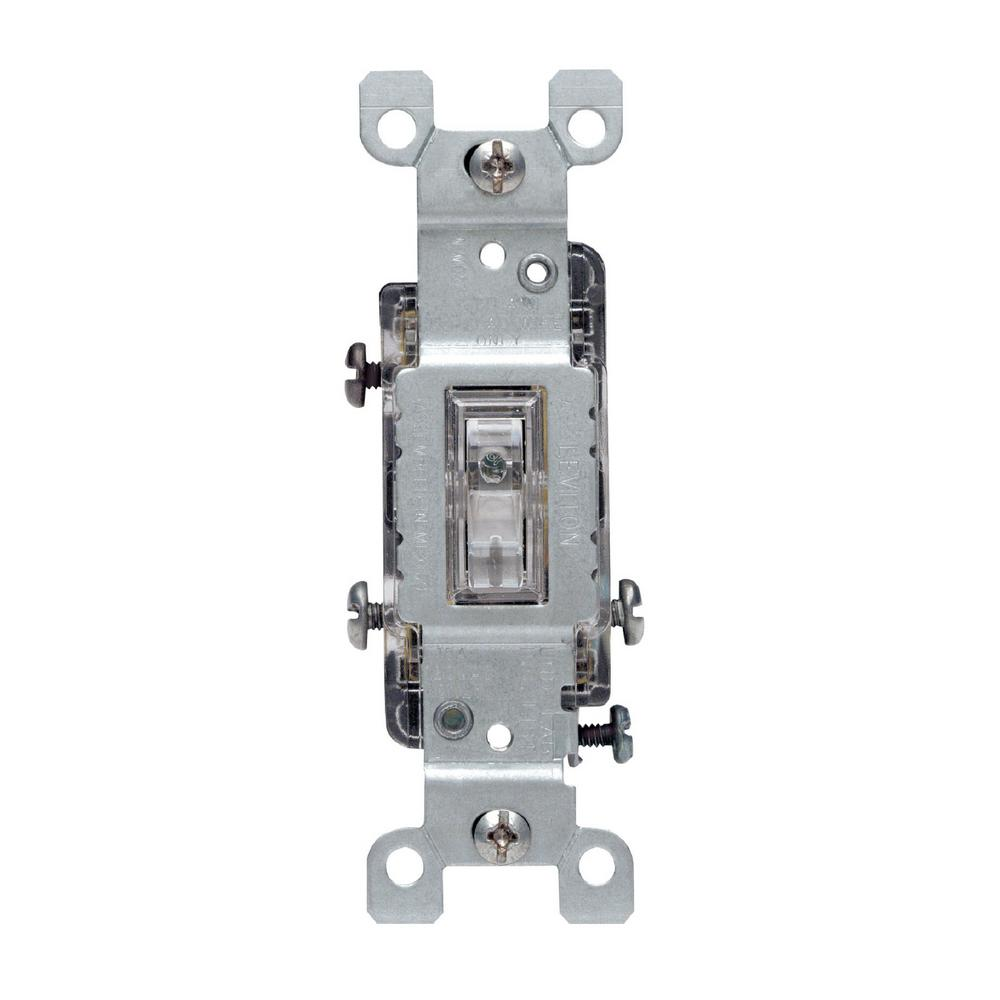 Leviton 15 Amp 3-Way Toggle Light Switch, Clear