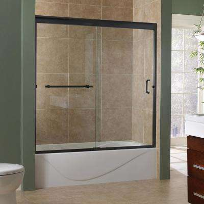 Marina 60 in. x 60 in. Semi-Framed Sliding Tub Door in Oil Rubbed Bronze with 3/8 in. Clear Glass