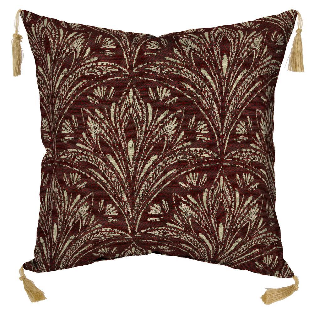 Zanzibar Throw Pillows : Bombay Outdoors Royal Zanzibar Berry Square Outdoor Throw Pillow with Tassels (2-Pack)-NF77553A ...