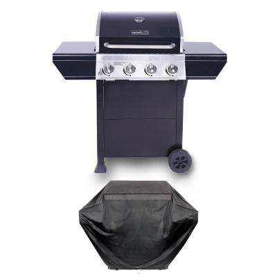 4-Burner Propane Gas Grill in Black with Stainless Steel Control Panel Plus Grill Cover